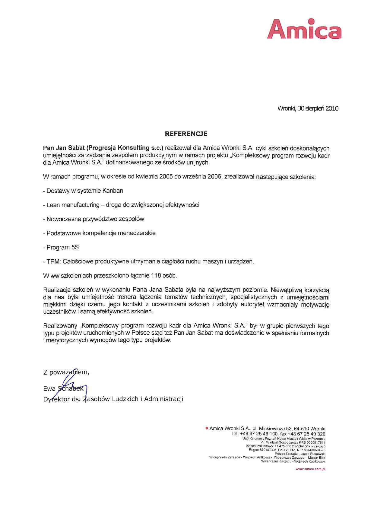 Sabat Consulting - Amica - referencje