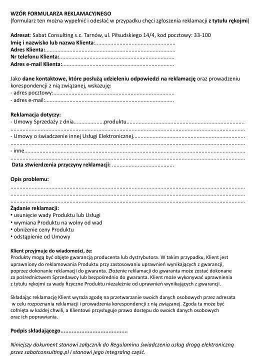 Wzór formularza reklamacji