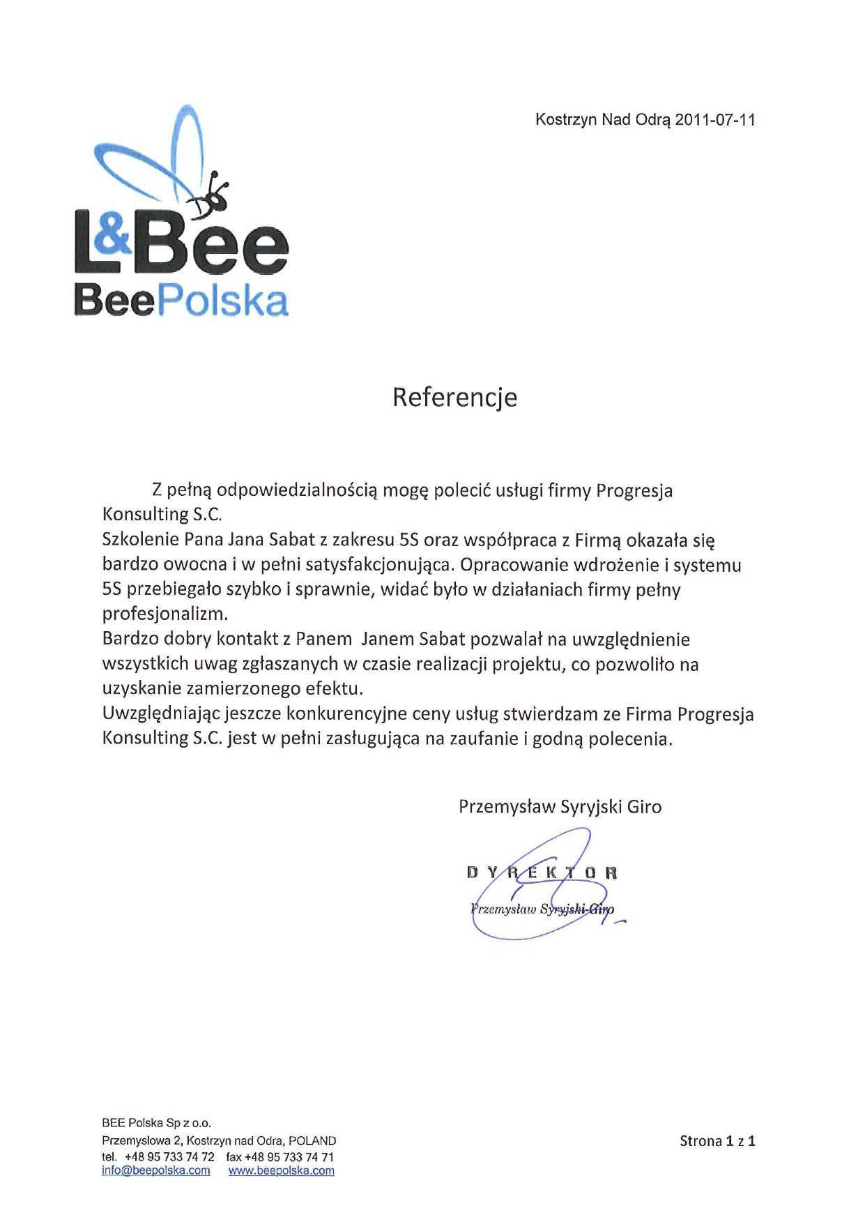 Sabat Consulting - Bee Poland - referencje