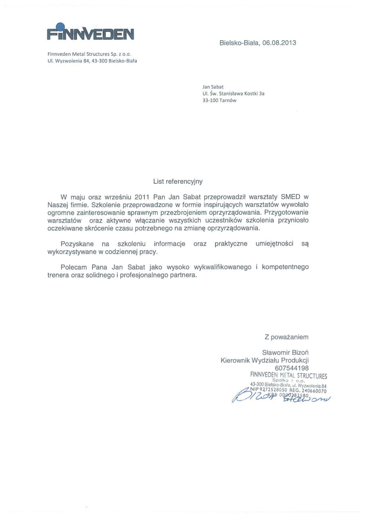Sabat Consulting - Finnveden - referencje