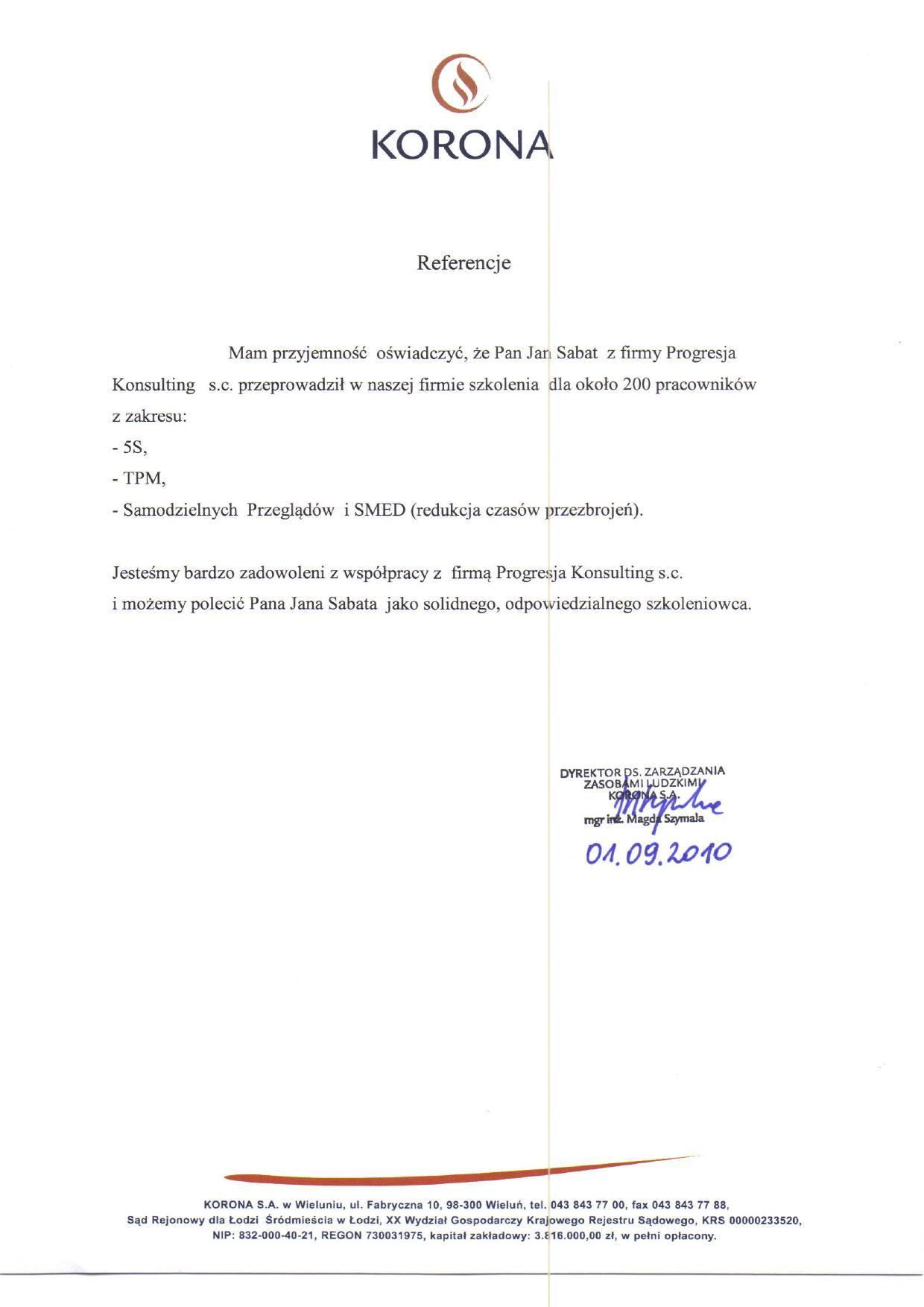 Sabat Consulting - Korona - referencje